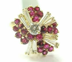 Ruby And Diamond Cocktail Ring 18kt Yellow Gold 1.64ct Pigeon Red