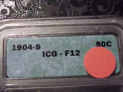 Icg F-12 1904-s Barber Half Dollar   Key Date  Lity And Top Of B,e,r
