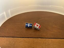 Pin Pinback Tie Hat Lapel Canadian Flag Canada Red Maple Leaf Quebec Flag Pin