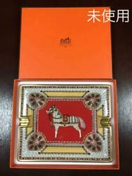 Sale Hermes Ashtray Horse Pattern Red Gold Tray Accessory Case No.9828