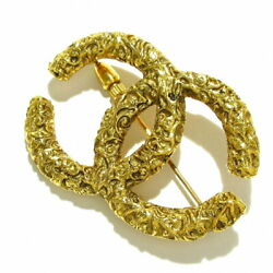 Authentic Previously Owned Coco Mark Brooch Gold Metal Material No.7625