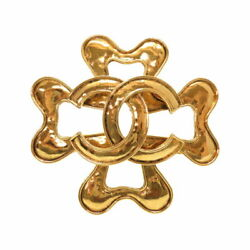 Vintage Coco Mark Gold Brooch Accessory 0784 Previously Owned No.7606