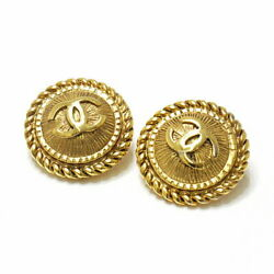 Vintage Coco Mark Button Earring Gp Gold Clipmissing Cushion No.7976