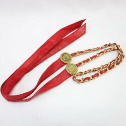 Chain Belt C107 Vintage Strap Charm Red Gold Accessory R4562 No.8016