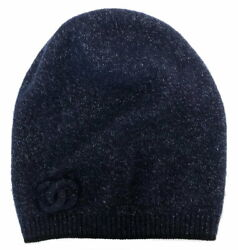 Hat Knit Cap Coco Mark Cashmere Navy Blue Women And039s Lame No.8595