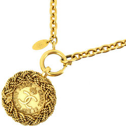 Necklace Vintage Coco Mark Medal Chain Metal Gold Gp Women 's No.8662