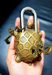 Vintage Set Of 3 Pcs Yellow Brass Tortoise Lock Collectibles Working Functional