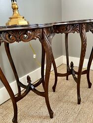 Stunning Pair Of Antique Walnut Hand Carved Side Tables
