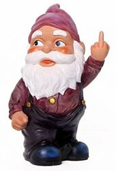 Funny Guy Mugs Garden Gnome Statue - Middle Finger Gnome - Indoor/outdoor