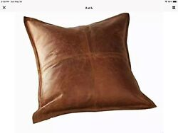 100 Lambskin Leather Pillow Cover - Sofa 16x16 Inches Antique Brown