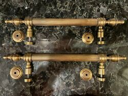 Brass Door Pulls Pair W/ Trim And Mounting Hardware Excellent Condition