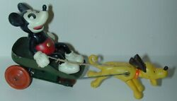 Mickey Mouse White Shoes+gloves In Cart W/ Pluto Celluloid Tin W/u Japan1930s