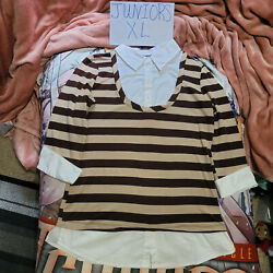 Juniors Xl Anxiety Brown And Tan Mock Layer Collared Top 3/4 Sleeves Blouse Shirt