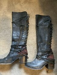 Freebird By Steve Madden Coal Boots Black Red Great Condition Womens Size 8 Cute