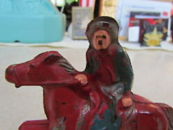 Vintage 1930's Auburn Rubber Cowboy On Horse With Wheels