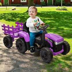 Tobbi 12v Kids Battery Powered Electric Tractor With Trailer Toddler Ride-on Toy