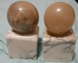 Vintage Mid Century Marble Bookends Sphere On Pillar 5 Tall Made In Italy