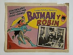 Vtg Batman And Robin Columbia Pictures Serial Dynamic Duo Movie Lobby Card Poster
