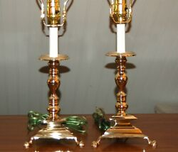 Brass Candlestick LAMPS Candle Holder PAIR Triangle Baroque Colonial 8 X
