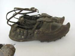Wwi Original Turkish Ottoman Army Open Leather Shoes W/hobnails Very Rare