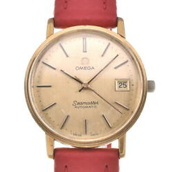 Omega Seamaster Date Gold Plated/leather Gold Dial Automatic Mens Watch P104290