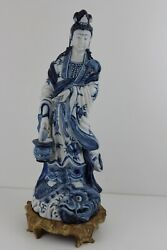 Chinese Blue And White Figure Guan Yin On Wood Stand Fish On Basket 47cmtall 2.7kg
