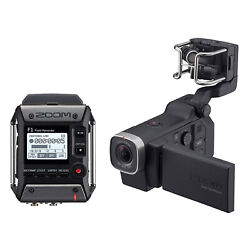 Zoom F1 Digital Audio Recorder With Lavalier Mic And Q8 Video Professional Camera