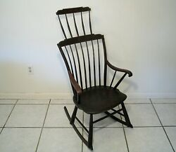 Rare 19th Century Antique American Windsor Comb Back Hand Painted Rocking Chair