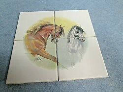 New Horses ART Decorative 4 4.25 by 4.25 Ceramic Wall Tiles Made in USA