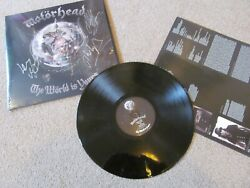 Motorhead - World Is Yours Lp Vinyl Fully Signed Lemmy Mikkey Phil Autographed