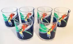 H J Stotter Acrylic Plastic Glasses 6 Double Old Fashioned Parrot Bird Cups