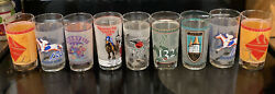 Lot Of 9 Vintage Kentucky Derby And Breeders Cup Souvenir Collectors 12 Oz Glasses