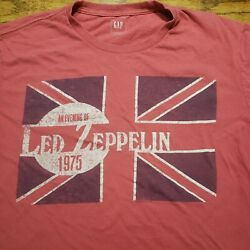 An Evening With Led Zeppelin 1975 Shirt By Gap Adult Red M British Flag Uk Zoso