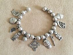 Sterling Silver Charm Bracelet Tomboy Baseball Girls 11 Charms 16 Spacers 39g