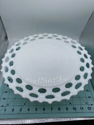 Vintage Westmoreland Milk Glass Footed Cake Stand Doric Laced Edge Pattern