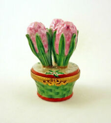 New French Limoges Trinket Box Pink Hyacinth Flowers In Christmas Pot With Holly