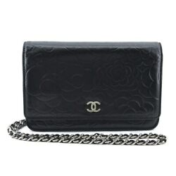 Auth Camellia A47421 Black Lambskin Other Style Wallet