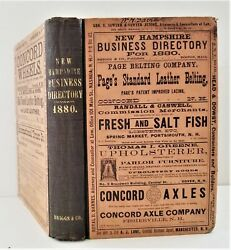 1880 Antique New Hampshire Business Directory Ads Genealogy Railroad Undertaker