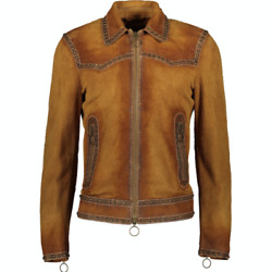 Dsquared2 Western Suede Studded Jacket - Brown - Uk 38/it 48 - £2500