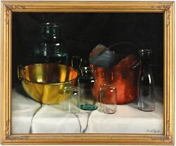 Still Life Glass And Brass Oil Painting By Andaacuterpandaacuted Romek Hungarian 1883-1960