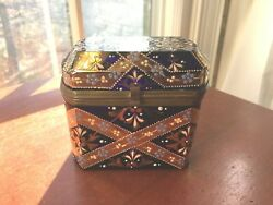 Antique Bohemian Moser Glass Casket Jewelry Box 24k Gold And Enameled Design