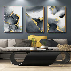 Large Abstract Art Grey Black Gold Canvas Poster Wall Art Large Prints