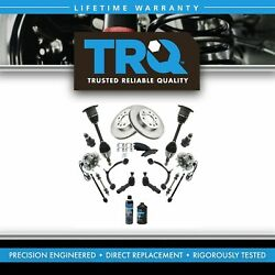 Trq 19pc Kit Brake And Pads Rotors Tie Rods Control Arms Axles For Chevy Gmc