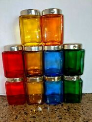 Vintage 60's Colored Glass Jars Made In Japan Lot Spice Jars 3 Tall Lot Of 10