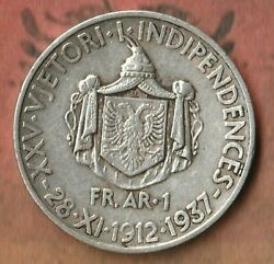 1937 Albania 1 Frang- 83.5 Silver- Rare 25th Anniversary Issue- 50000 Minted