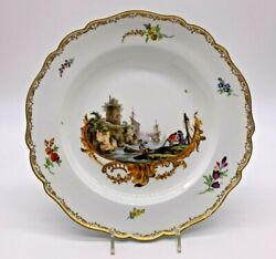Rare 1774 Antique Meissen Hand Painted Nautical Floral Scene Cabinet Plate