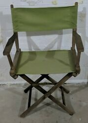 Vintage Telescope Foldable Directors Chair Patio Furniture/outdoor Green Canvas