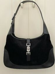 Vintage Jackie Black Suede And Leather Purse With Pewter Grey Hardware