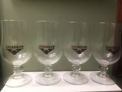 Lot Of 4 Unibroue Brewery Stemmed Belgian Style Canadian Beer Glasses Set