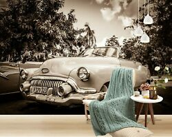 3d Vintage Car S228 Transport Wallpaper Mural Self-adhesive Removable Sunday